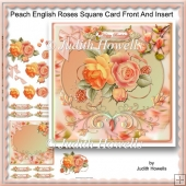 Peach English Roses Square Card Front And Insert