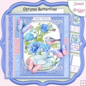 BLUE FLORAL TEACUP 7.5 All Occasions Quick Card & Insert Kit