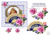 Victorian Fan & Pink Roses (3) - 6 x 6 Card Topper & Decoupage