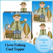 I love Fishing Decoupaged Card Topper