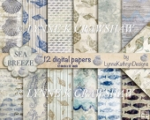 SEA BREEZE DIGITAL PAPER PACK -12 X 12 INCH PAPERS