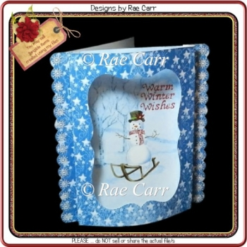 864 Christmas Snowman Bowed Front *HAND & MACHINE Formats*