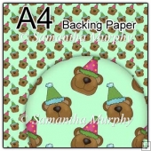 ref1_bp492 - Green Teddy With Party Hat