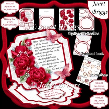 RED ROSES Large Easel Card Kit & Decoupage 7.7 All Occasions
