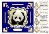 Blue & Gold Chinese Giant Panda 7.5 x 7.5 Topper + Decoupage