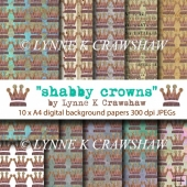 SHABBY CROWNS - 10 x A4 original digital paper pack