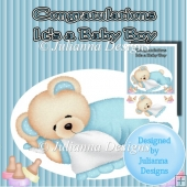 8X8 Baby Boy Teddy Topper