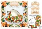 "Teacup & Roses Sleeping Mouse - 8"" x 8"" Card Topper & Decoupage"
