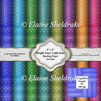 Bold Bright Faux Knitted Cable Stitch 8 x 8 Backing Papers
