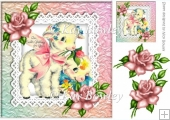 Cute easter lambs on lace with pink roses 8x8