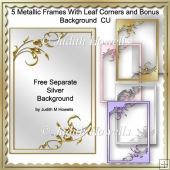 Metallic Frames With Leaf Corners And Bonus Background CU