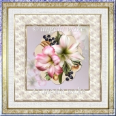 Festive amaryillis 7x7 card with decoupage