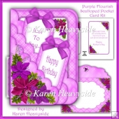 Purple Flourish Scalloped Pocket Card Kit