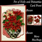 Pot of Holly and Poinsettias Card Front
