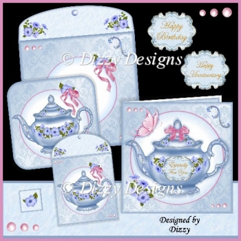 Petunia Teapot Card Set