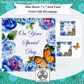 Special Day 7 x 7 Inch Blue Roses Card Front with Decoupage