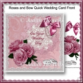 Roses and Bow Quick Wedding Card Front