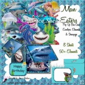 SHARKS OCEAN BIRTHDAY 3D POP UP BOX CARD KIT