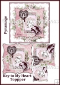 Cottage Chic KEY TO MY HEART Valentine Topper with Pyramage