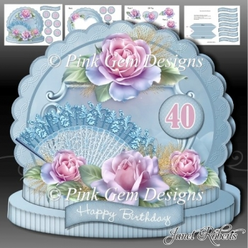 Pink Roses Age Card Mini Kit