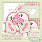 Pink Roses Mother's Day Heart Wrap Around Gatefold Card