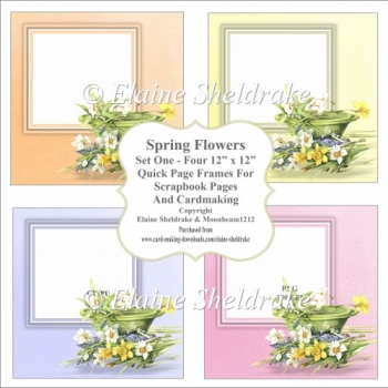 Spring Flowers Set One - Four PNG Floral Quick Page Frames