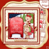 BEARS AT THE CHRISTMAS POSTBOX 8x8 Decoupage & Insert Kit