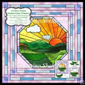 "Art Deco Sunset - 6"" x 6"" Stained Glass Window With Decoupage"
