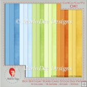 Boy Birthday Colors A4 size Card Stock Digital Papers