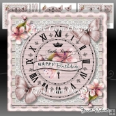 Pink Butterfly Clock Mini Kit