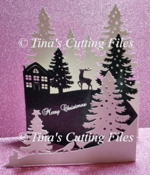 Christmas Fir Trees Reindeer Country Scene Tri Fold Card