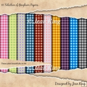 10 Selection of Gingham Papers