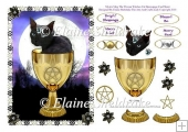 Mystic Mog The Witches Cat - A5 Card Topper & Decoupage