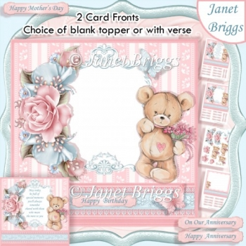TEDDY BEAR ROSES Blank Front or With Verse Decoupage & Insert