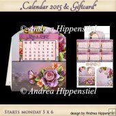 Calendar 2015 Card Start MONDAY Lovely Rose