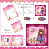 PRETTY GIRL IN PURPLE 6X6 CARD