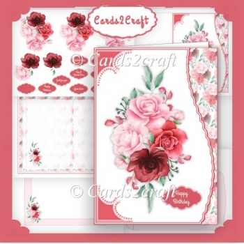 Wvy edge 4 rose card set