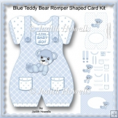 Blue Teddy Bear Romper Shaped Card Kit