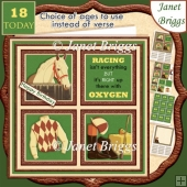 HORSE RACING 7.5 Quick Card Verse or Ages Decoupage & Insert Kit
