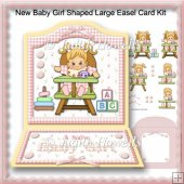 New Baby Girl Shaped Large Easel Card Kit
