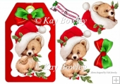 cute bear on a red tag with santa hat and bow