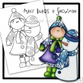 Miley Build a Snowman Christmas Digital Stamp.