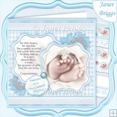 BABY TOES & VERSE Blue New Baby Boy 7.5 Decoupage & Insert Kit