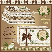 Bows & Roses Set of 3 Gift Boxes