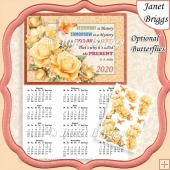 YELLOW ROSES 2020 A4 Calendar with Decoupage Mini Kit