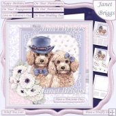 POODLES COUPLE 7.5 Decoupage & Insert Card Kit