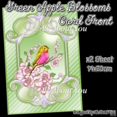Green Apple Blossoms Card Front With Insert Panel