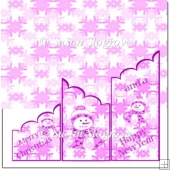 Snowman Scollope Trifold Card Pink
