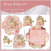 Sleepy Baby Girl Petal Stand Card