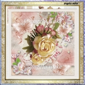 English rose 7x7 card with decoupage and sentiment tags